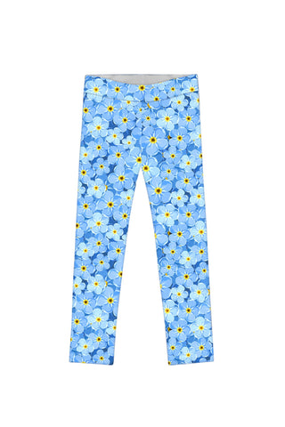 Little Forget-Me-Not Lucy Blue Floral Print Knit Legging - Girls - Pineapple Clothing