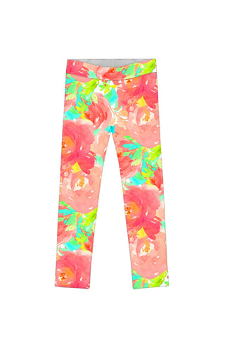Little Good Idea Lucy Cute Bright Floral Print Leggings - Girls - Pineapple Clothing