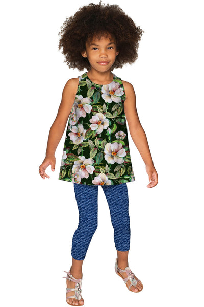 Little Queen of Flowers Emily Green Sleeveless Knit Top - Girls