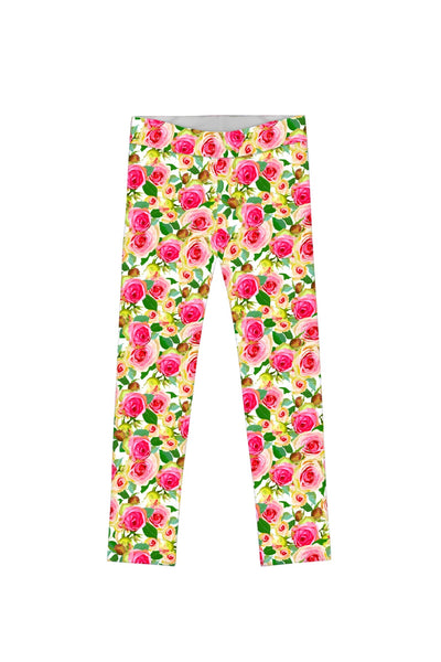 Little Rosarium Lucy Cute Rose Flower Print Leggings - Girls - Pineapple Clothing