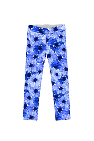 Little Wild Bloom Lucy Cute Blue Floral Print Leggings - Girls - Pineapple Clothing