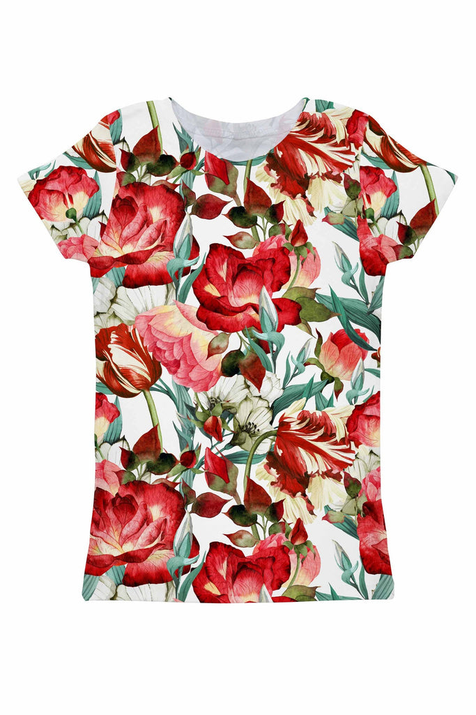 Love Song Zoe Red Floral Print Ornate Designer Tee - Women - Pineapple Clothing