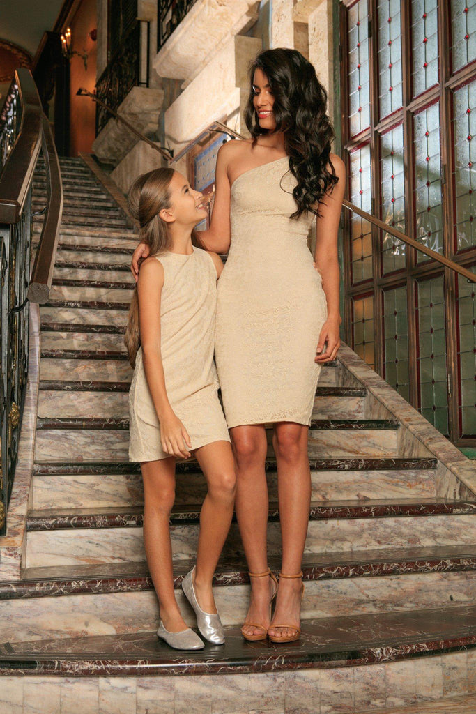 Beige Stretchy Lace Sleeveless Cocktail Party Mother Daughter Dress - Pineapple Clothing