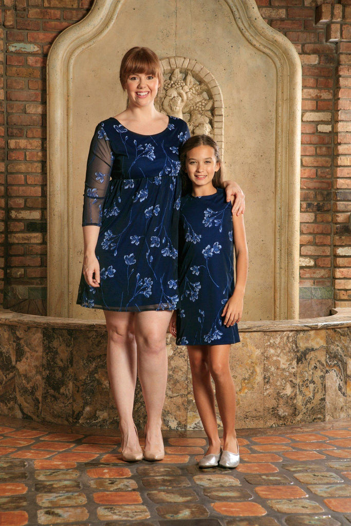 dc4661485cad6 Navy Blue Floral Lace Party Cute Mother Daughter Dresses Plus Size