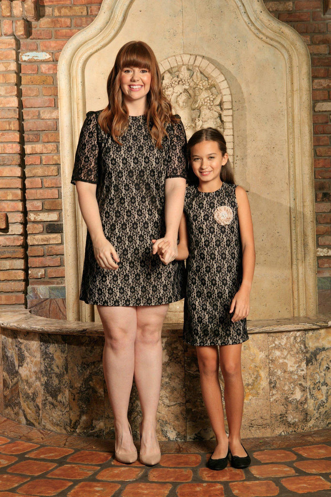 Black Lace Gorgeous Party Unique Shift Mommy and Me Dress Plus Size - Pineapple Clothing