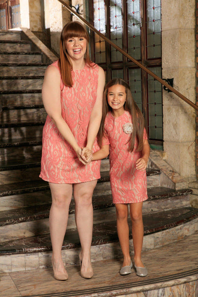 Dusty Pink Lace Party Evening Shift Mommy & Me Dress Plus Size
