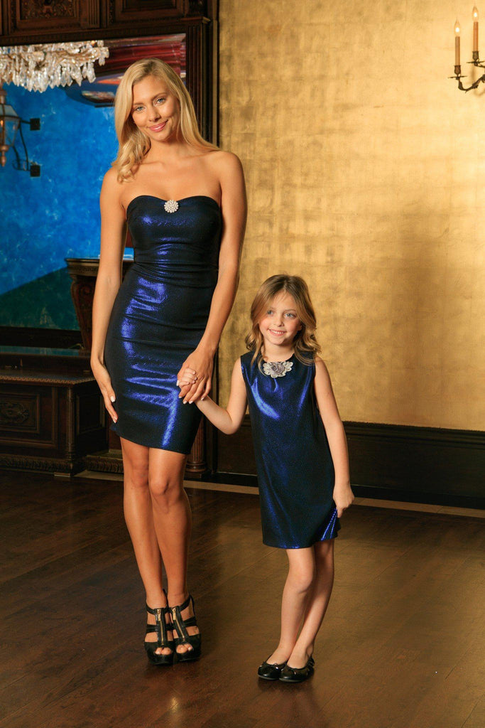 Blue Navy Stretchy Metallic Sleeveless Fancy Mother Daughter Dresses - Pineapple Clothing