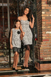 Black White Stretchy Fancy Cocktail Mommy and Me Dress With Lace Trim - Pineapple Clothing
