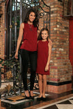 Ruby Red Floral Sleeveless Holiday Designer Mother Daughter Outfit - Pineapple Clothing