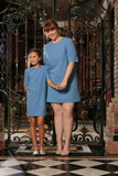 Blue Stretchy Elbow Sleeve Daytime Trendy Shift Mother Daughter Dress - Pineapple Clothing