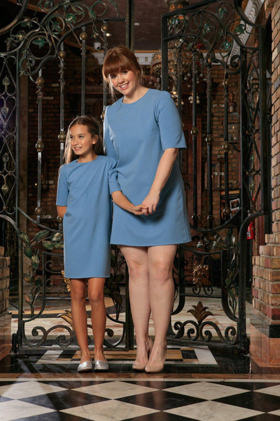 Blue Stretchy Elbow Sleeve Daytime Trendy Shift Mother Daughter Dress Plus Size