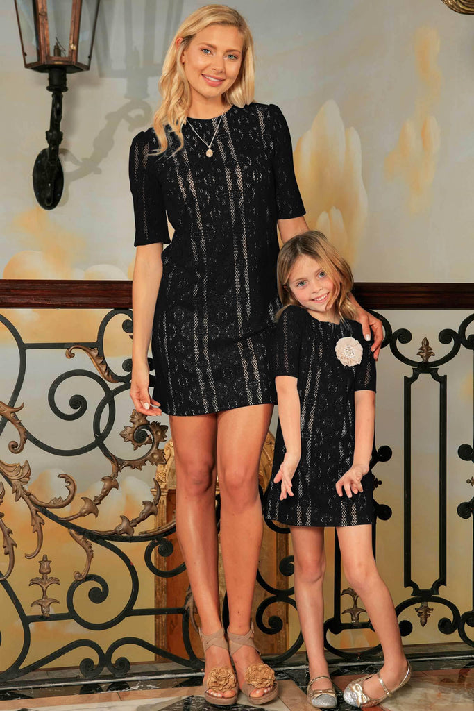 Black Crochet Lace Elbow Sleeve Shift Mother Daughter Party Dress - Pineapple Clothing