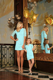 Mint Blue Stretchy Lace Elbow Sleeve Party Shift Mother Daughter Dress - Pineapple Clothing