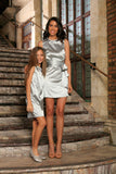 Silver Grey Charmeuse Sleeveless Cocktail Shift Mommy and Me Dresses - Pineapple Clothing