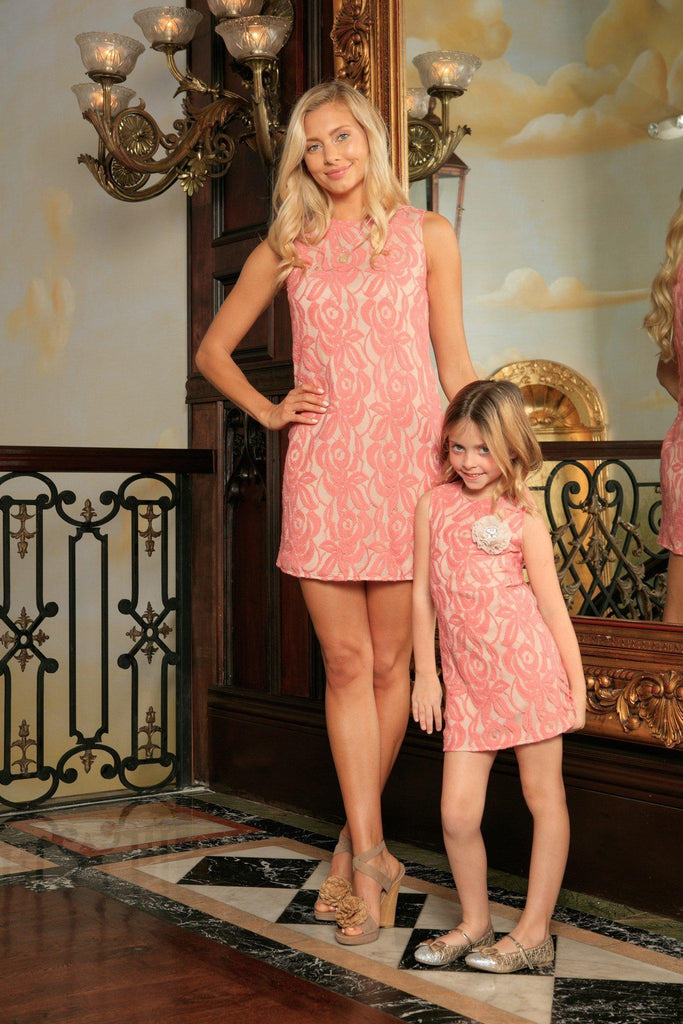 Dusty Pink Lace Sleeveless Easter Spring Party Shift Mommy & Me Dress - Pineapple Clothing