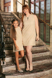 Beige Stretchy Lace Sleeveless Chic Day Shift Mommy and Me Dresses - Pineapple Clothing