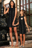 Black Crochet Lace Sleeveless Shift Mommy and Me Party Dresses - Pineapple Clothing