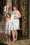 Silver Grey Charmeuse Day Cute Fancy Halter Swing Mommy and Me Dress - Pineapple Clothing