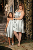 Silver Grey Cute Fancy Halter Swing Mommy and Me Dress Plus Size - Pineapple Clothing