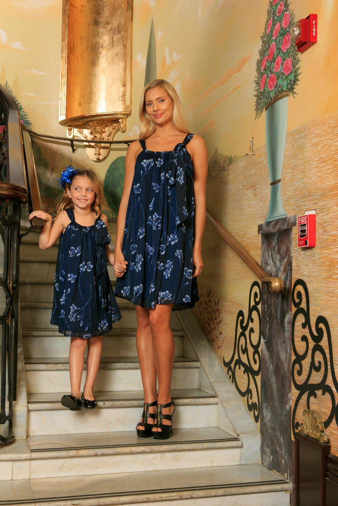 Navy Blue Floral Lace Halter Swing Trendy Party Mommy and Me Dress - Pineapple Clothing