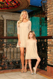 Beige Stretchy Lace Empire Waist Half Sleeve Day Mother Daughter Dress - Pineapple Clothing