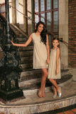 Beige Stretchy Lace Empire Waist Sleeveless Stylish Mommy and Me Dress - Pineapple Clothing