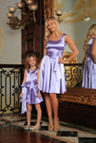 Lavender Sleeveless Skater Fit Flare Party Mother Daughter Dress with Belt - Pineapple Clothing