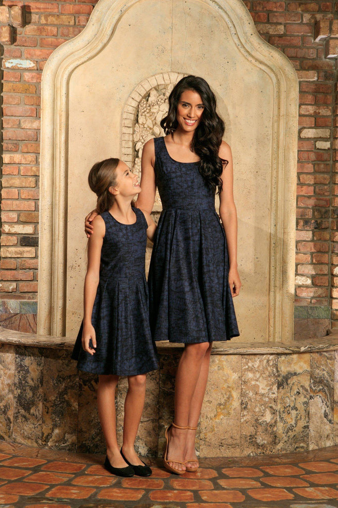 a2c62272a9 Navy Animal Print Sleeveless Skater Fit   Flare Mother Daughter Dress -  Pineapple Clothing