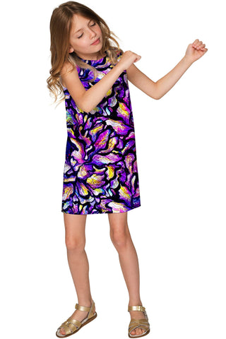 Make a Wish Adele Purple Printed Shift Party Dress - Girls - Pineapple Clothing