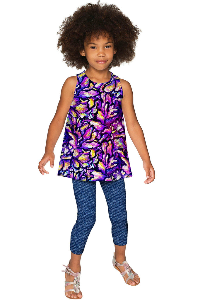 Make a Wish Emily Purple Print Sleeveless Fancy Top - Girls - Pineapple Clothing