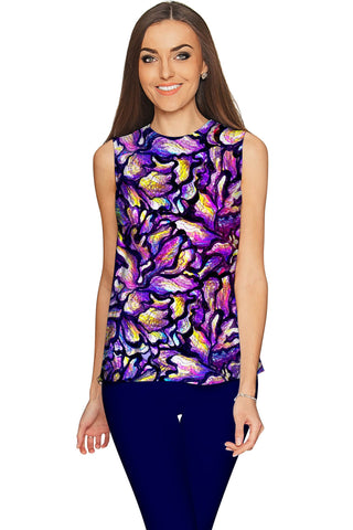 Make a Wish Emily Purple Fancy Sleeveless Top - Women - Pineapple Clothing