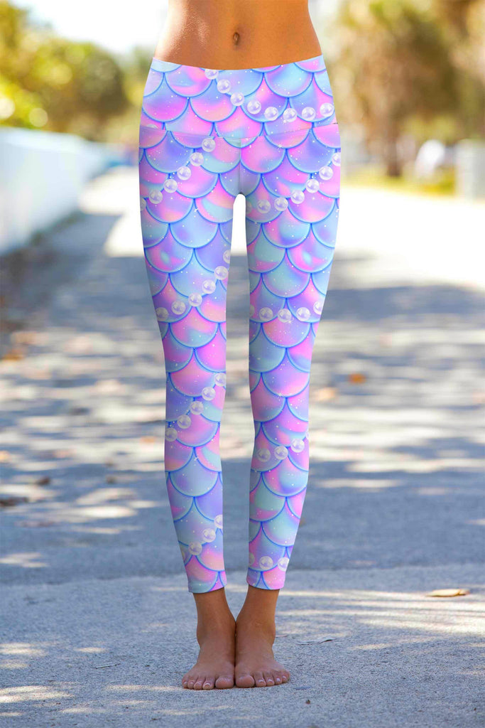 Making Waves Lucy Purple Mermaid Print Leggings Yoga Pants - Women