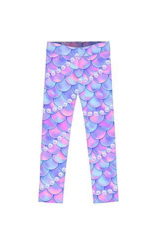 Making Waves Lucy Purple Mermaid Print Cute Leggings - Girls
