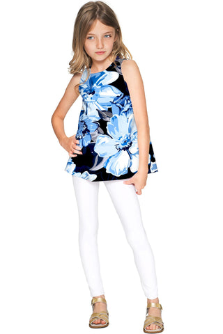 Memory Book Emily Blue Floral Trendy Sleeveless Top - Girls - Pineapple Clothing