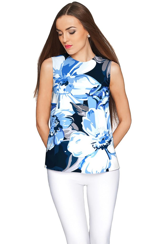 Memory Book Emily Blue Floral Print Sleeveless Top - Women - Pineapple Clothing