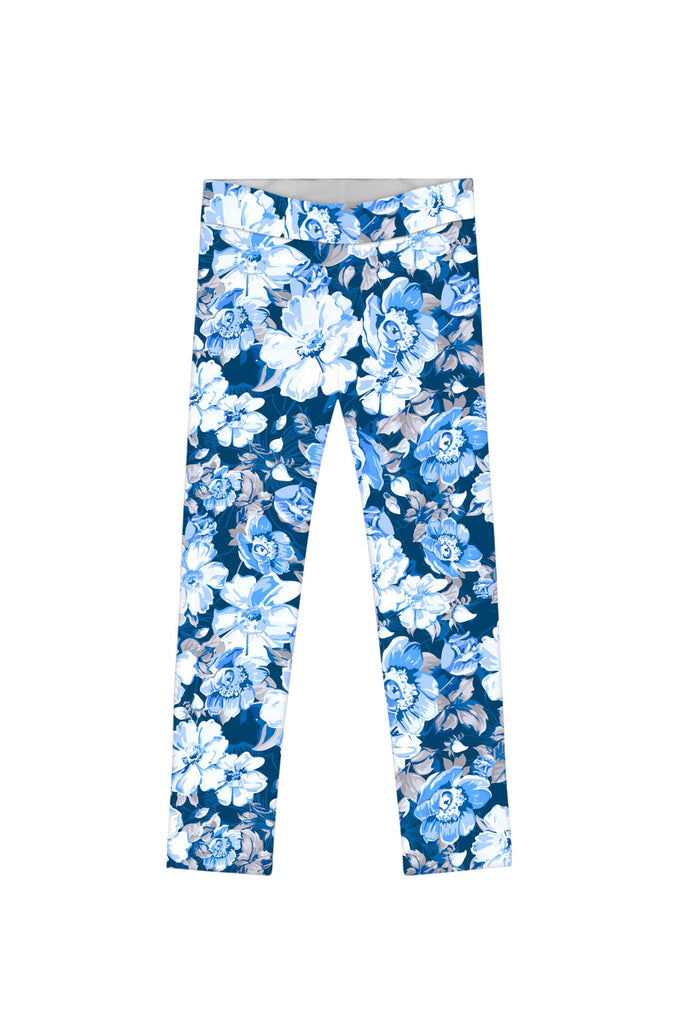 Memory Book Lucy Cute Blue Floral Printed Leggings - Girls - Pineapple Clothing