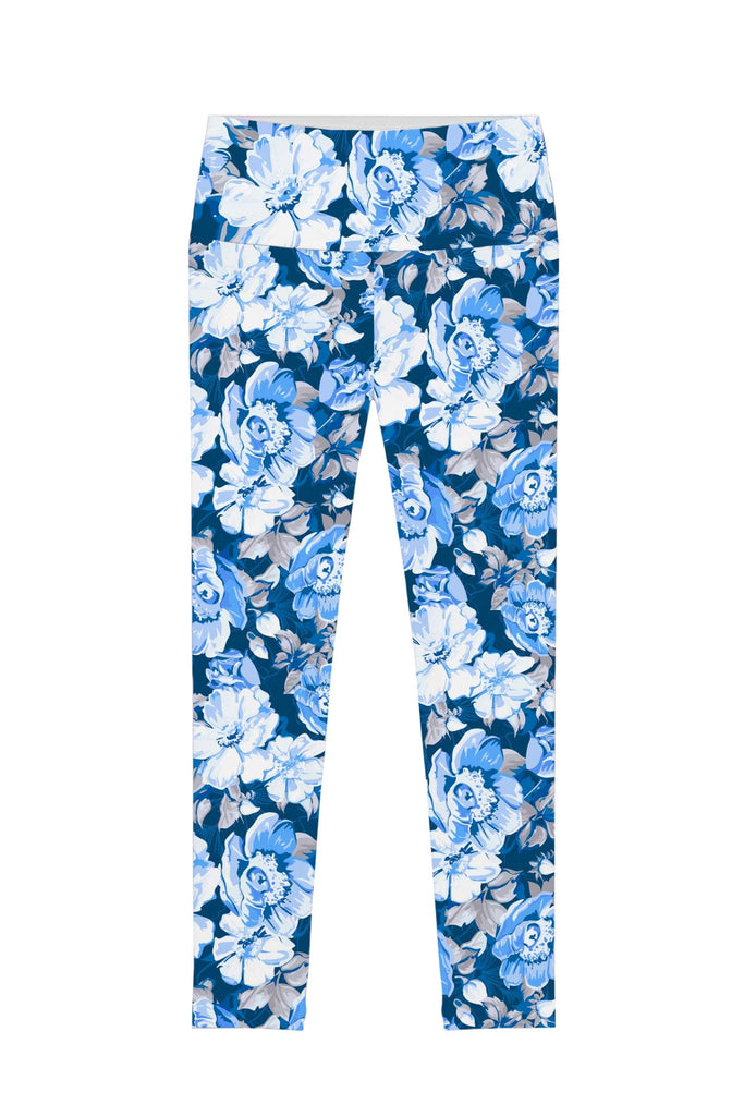 Memory Book Lucy Blue Floral Print Stretch Leggings - Women - Pineapple Clothing