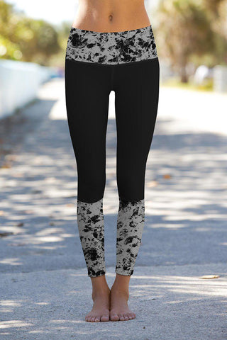 Mercury Lucy Black Printed Details Leggings Yoga Pants - Women