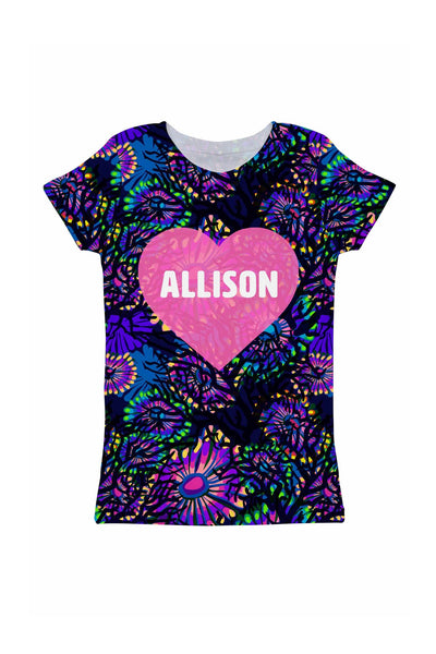 Midnight Glow Customized NAME Zoe Heart T-Shirt - Girls