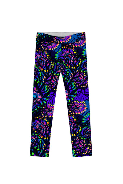 Midnight Glow Lucy Cute Purple Floral Print Leggings - Girls