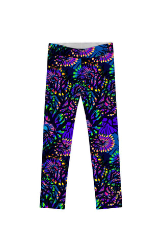 Midnight Glow Lucy Cute Purple Floral Print Leggings - Girls - Pineapple Clothing