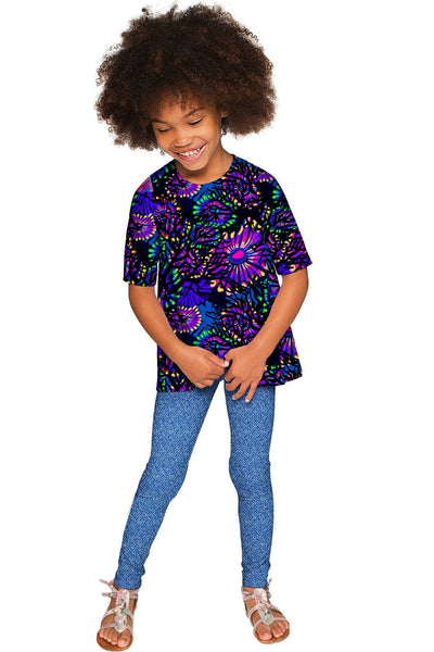 Midnight Glow Sophia Purple Elbow Sleeve Party Top - Girls