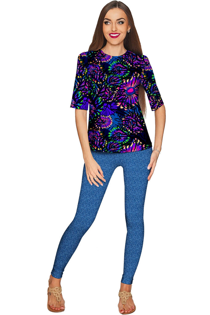 Midnight Glow Sophia Purple Evening Sleeved Top - Women - Pineapple Clothing