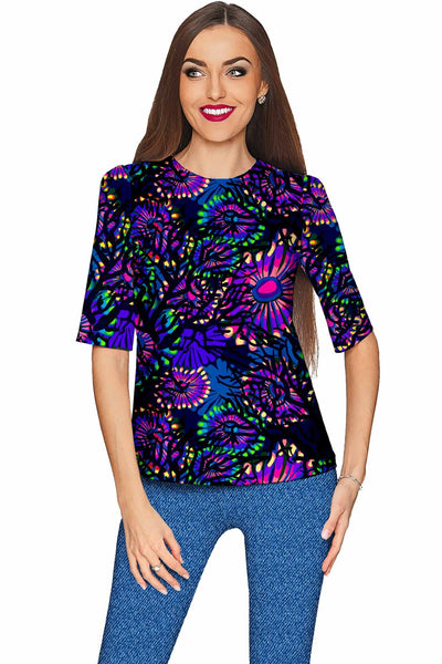 Midnight Glow Sophia Purple Evening Sleeved Top - Women
