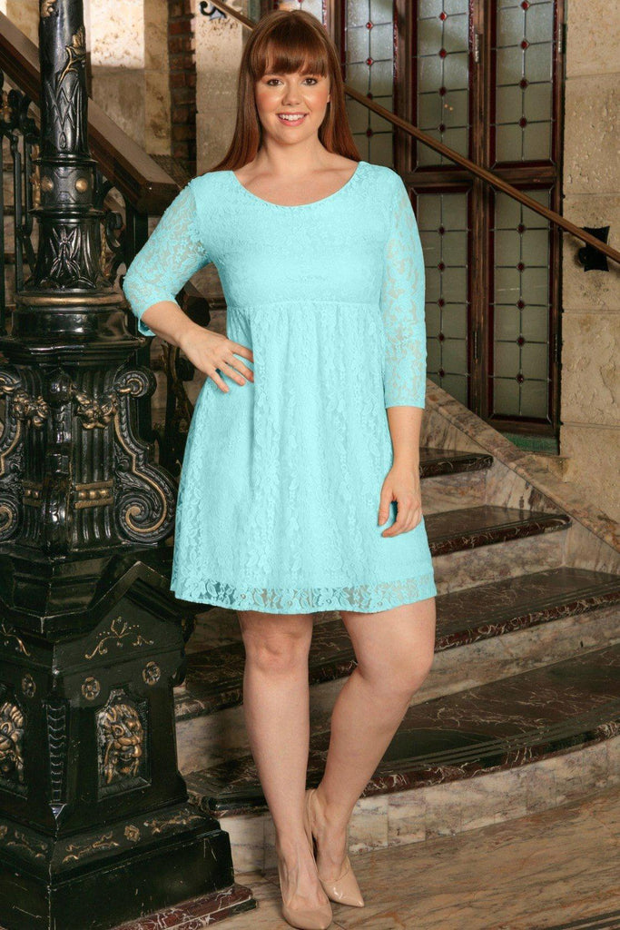 Mint Blue Lace Empire Sleeved Spring Party Dress - Women Plus Size