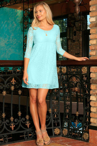 Mint Blue Lace Empire Waist Sleeved Trendy Spring Summer Dress - Women