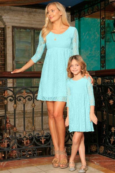 Mint Blue Lace Empire Waist Three-Quarter Sleeve Mother Daughter Dress