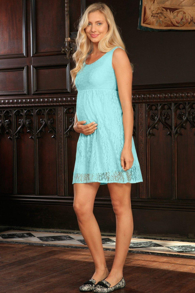 Mint Blue Stretchy Lace Cute Empire Sleeveless Dress - Women Maternity
