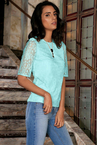 Mint Blue Stretchy Lace Elbow Sleeve Dressy Stylish Cute Top - Women - Pineapple Clothing