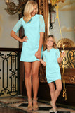 Mint Blue Stretchy Lace Elbow Sleeve Party Shift Mother Daughter Dress